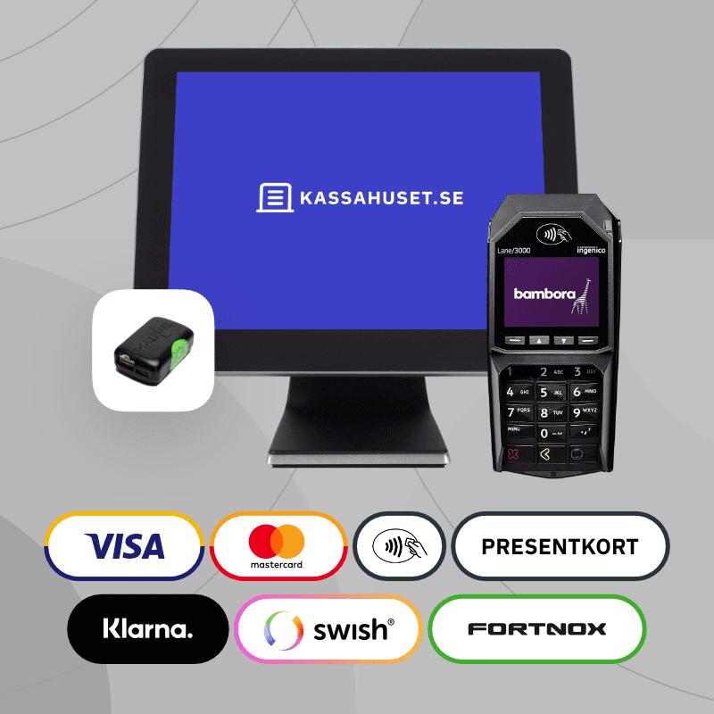 Ett komplett kassasystem paket med kortterminal och kontrollenhet till butik.