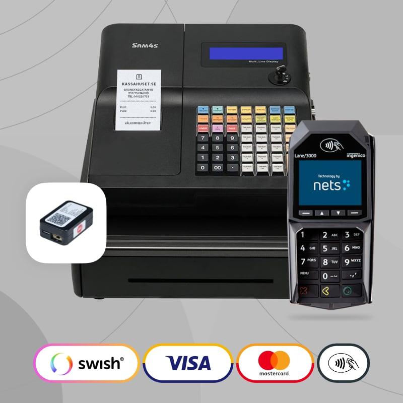Ett komplett kassaregister paket med kortterminal och kontrollenhet till butiken.