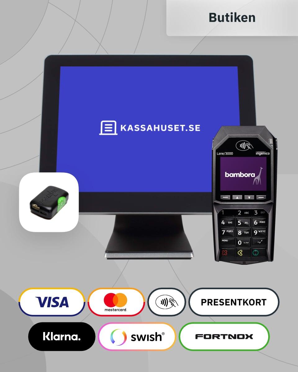 Ett komplett kassasystem med kortterminal och kontrollenhet till butik.