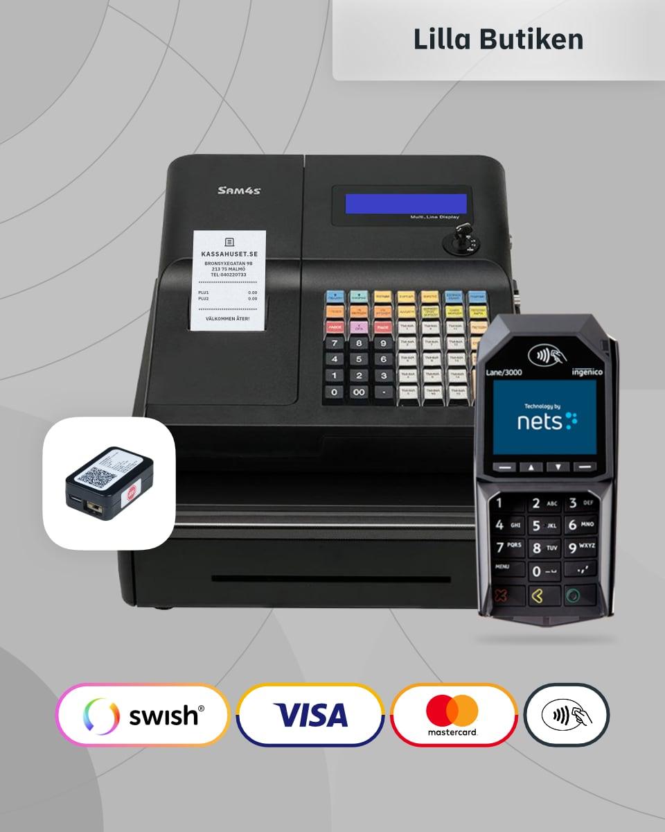Ett komplett kassaregister paket med kortterminal och kontrollenhet till butik.
