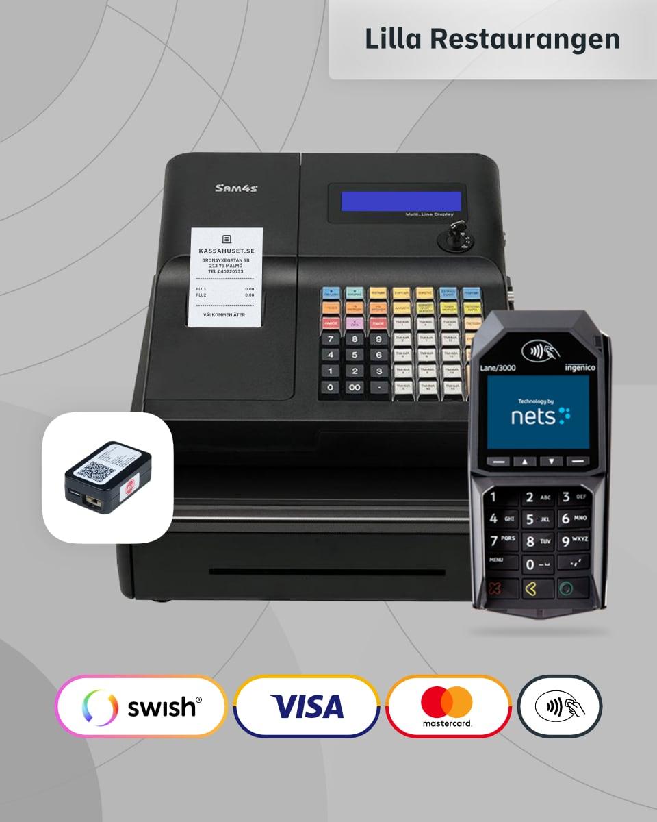 Ett komplett kassaregister paket med kortterminal och kontrollenhet till restaurangen.